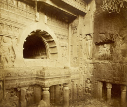 View from the left of façade of Buddhist chaitya hall, Cave XIX, Ajanta